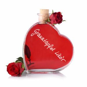 Granatapfel Likör in der Herzflasche - Cestino di Carmen
