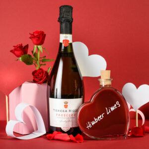 Perfekt als Valentinsgeschenk - Teresa Rizzi Prosecco Spumante Brut & Herzflasche mit Himbeer Limes